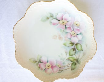 Vintage Decorative Floral Pink Plate