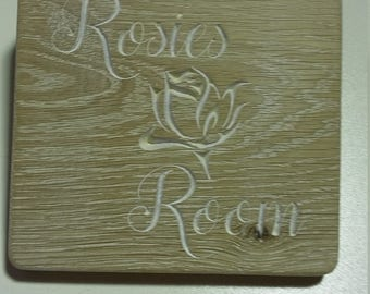 engraved wood name sign