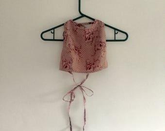 Pink floral 2-in-1 tie-up top