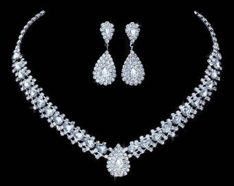 Crystal bridal necklace and earrings set