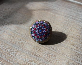 Mandala stone pink purple blue