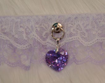 BDSM/DDLG/Kitten Play Gothic Lolita Purple Lace Collar with Large Heart Pendant