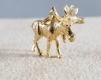 14k Yellow Gold Moose Charm