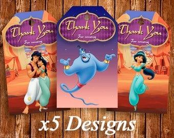 Aladdin Thank You Tags, Printables Thank You Tags, Aladdin Birthday, Aladdin Labels, Aladdin Favor Birthday Tags, Aladdin Birthday Party