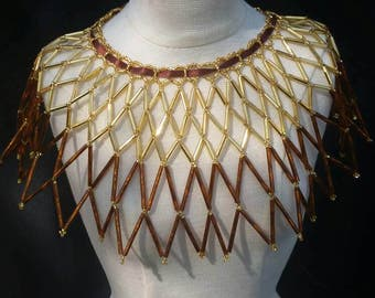 Seed Bead Collar Necklace Tribal Jewelry