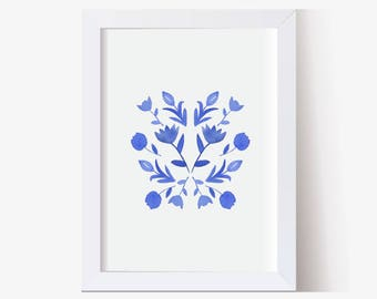 Watercolor Painting, Watercolor Picture Blue and White Flowers, Watercolor Print, Floral Pictures, Hand Painted (5x7, 8x10, 11x14)