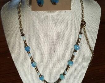 Brass necklace set blue