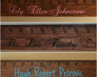 Custom made personalised wooden growth chart rulers