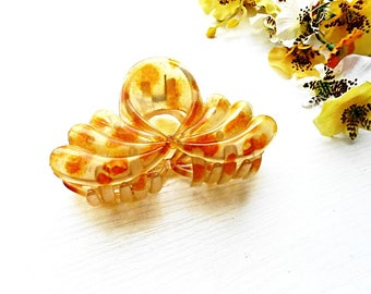 Jaw Claw Hair Clip Yellow Orange Bun Holder Maker Barrette French Clips Hand Painted Celluloid Acetate Plastic Acrylic Jewelry Accessories