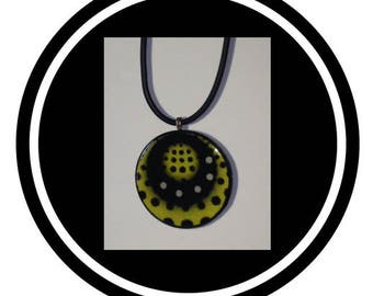 Handmade Bead Necklace with Yellow and Black Polka Dots