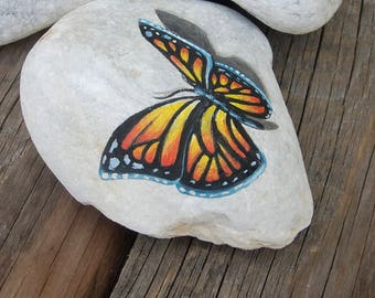 Butterfly painted rock stone, home decor, Painted stone rock Butterfly , Home decoration rock stone, Butterfly art, garden stone