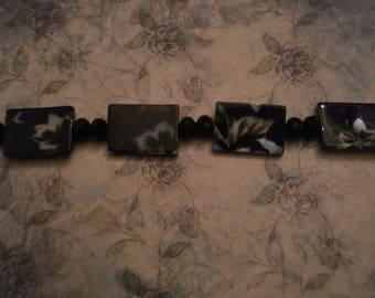 Boho Cobalt Blue Ceramic Flower Bracelet
