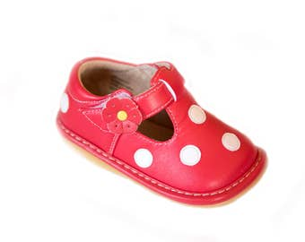 Red & White Polka Dot Squeaky Shoes