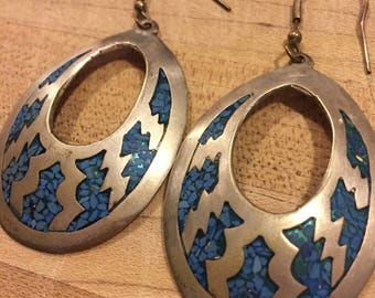 Alpaca Mexico Southwest Silver and Blue, Turquoise Hoop Dangle Earrings