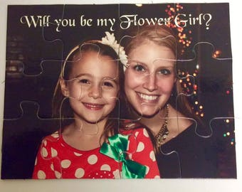 Will you be my Flower Girl Puzzle - Custom Photo Puzzle - Matron of Honor Gift - Personalized wedding Puzzle - Bridesmaids Proposal Puzzle