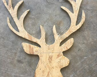 Wooden deer head cutout