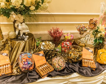 Candy Buffets -To-Go: Gold & Black Elegance
