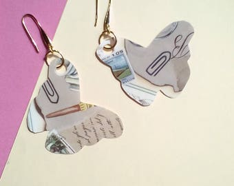 Paper butterfly earrings