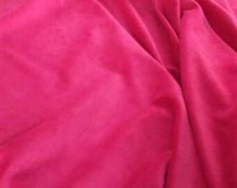 Fuchsia Pink Cotton Velvet Fabric, Bright Pink Velvet Fabric By The Yard