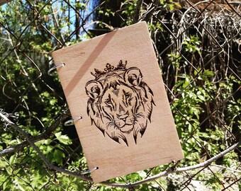 Wooden notepad, wooden notekbook, wood, handmade, sketchbook, lion