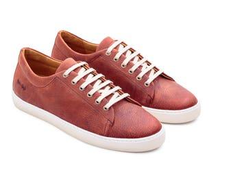 Red Sneakers, Customized Sneakers, Low Top Unisex, Leder Shoes, Tie Sneakers, Casual Leather Shoes,  Handmade men Sneaker, Platform Sneaker