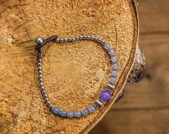 Bracelet beading/purple and blue/silver beads