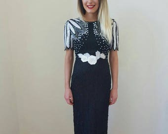 Prom dress ; black and white sequin dress
