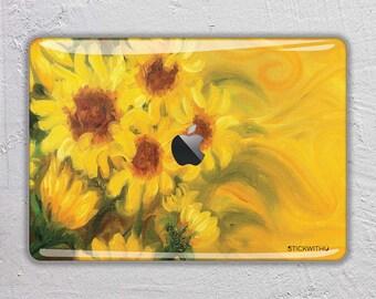 oil painting macbook skin sunflower macbook decal flower macbook sticker flowermacbook cover paint macbook pro skin macbook air 13  FSM218