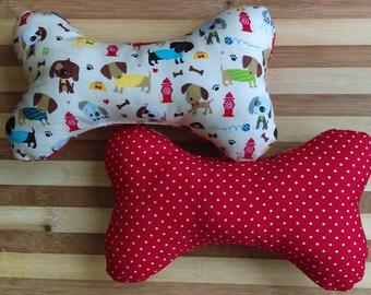 Dog Bone Toy w Squeaker - SMALL/MEDIUM Multiple Fabrics