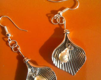 Freshwater pearls and silver plated Calla lily earrings
