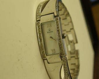 Elegant Ladies Bulova Diamond Dress Watch - Silver Tone - Mother Of Pearl