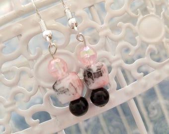 Lacey cube earrings, black lace earrings,  pink earrings,  lace earrings