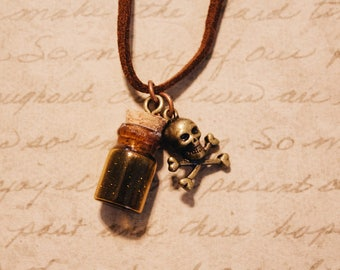 Steampunk Poison Bottle with Skull and Crossbones