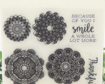 Doily Clear Rubber Stamp Set for Scrapbooking Paper Crafts, Card Making, Scrapbooking, Collage, Doilies, Thankful, Smile