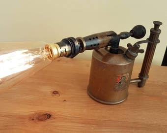 Vintage brass blow torch lamp