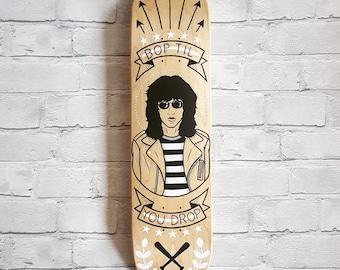 Bop Til You Drop: Hand Painted Skateboard Deck (Inspired by The Ramones/Joey Ramone)