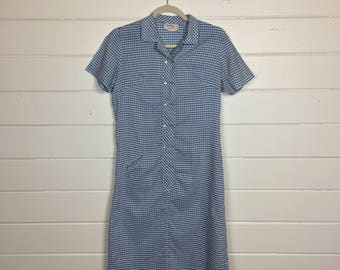 Vintage 1960s Sky Blue Gingham Shirtdress / Made by Pat Perkins / Cotton Day Dress
