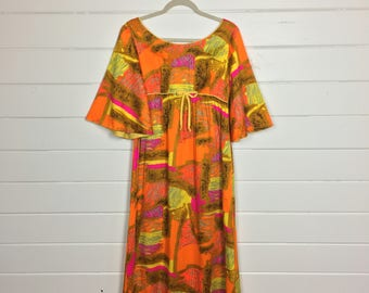 Vintage 1960s Day-glo Psychedelic Maxi Dress / Bell Sleeves / Neon / Hippie