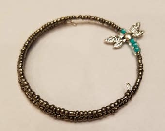 Beaded Dragonfly Memory Wire Bracelet