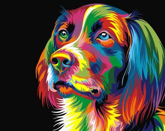 Dog coloured art posters for men and women highest quality canvas print poster anime gift