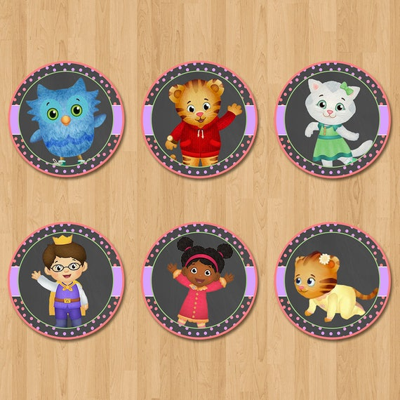 Daniel Tiger Cupcake Toppers - Chalkboard Pink & Purple - Daniel Tiger Birthday Party - Daniel Tiger Party Favors - Daniel Tiger Stickers