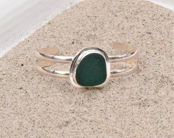 Genuine Sea Glass Bracelet Sterling Silver Teal Green