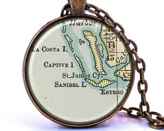 Sanibel Island, Captiva, Florida Map Pendant Necklace - Created from a vintage map published in 1891.