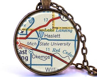 Michigan State University Map Pendant Necklace - Created from a 1956 map. Map Jewelry, Map Necklace, Map Pendant, Custom Jewelry