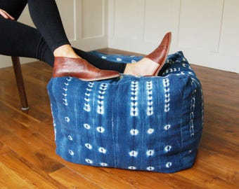 Authentic Indigo Mudcloth Pouf, Bohohemian Bean Bag