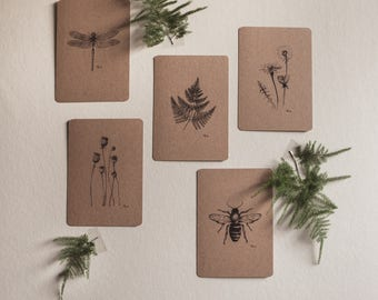 Set postcards, Kraft, 5 pieces, botanical pen-and-ink drawings, nature, Decoration