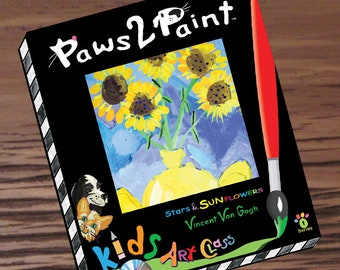 Kids Art Lesson Box Pack / Painting Sunflowers / Artist Vincent Van Gogh, DVD Tutorials, Art History Workbook Sketch Pages, Art Educational