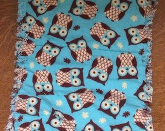 Baby burp cloths, flannel burp cloths, owls, soft absorbent, contoured