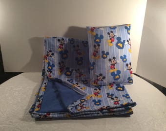 Mickey Mouse blanket and pillow