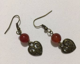 Red Agate Heart Earring